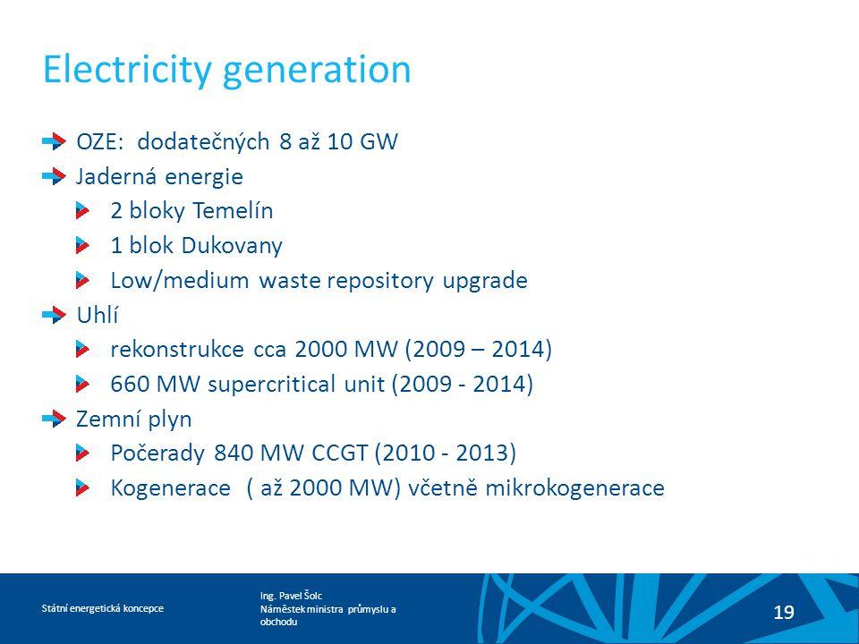 Ing. Pavel Šolc Náměstek ministra průmyslu a obchodu Státní energetická koncepce 19 Electricity generation OZE: dodatečných 8 až 10 GW Jaderná energie
