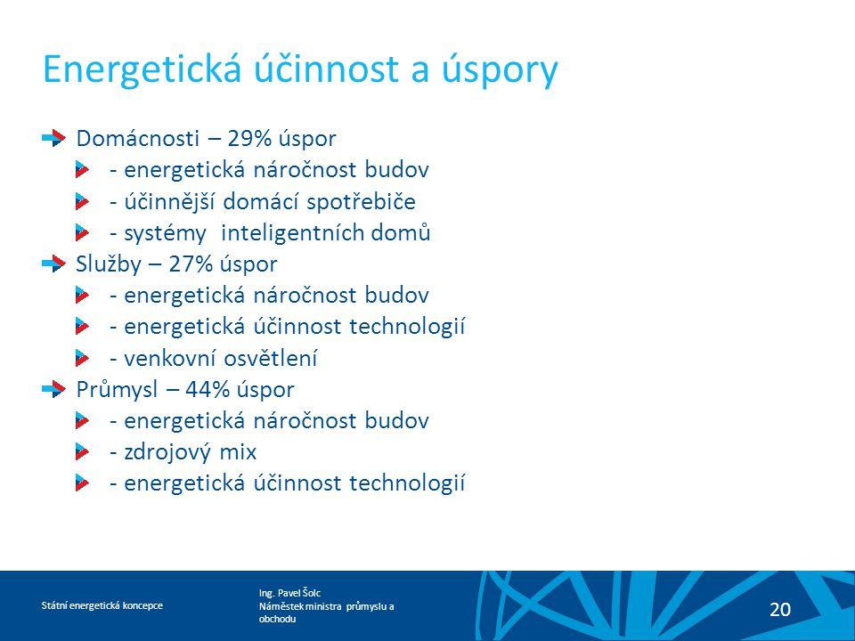 Ing. Pavel Šolc Náměstek ministra průmyslu a obchodu Státní energetická koncepce 20 Energetická účinnost a úspory Domácnosti – 29% úspor - energetická