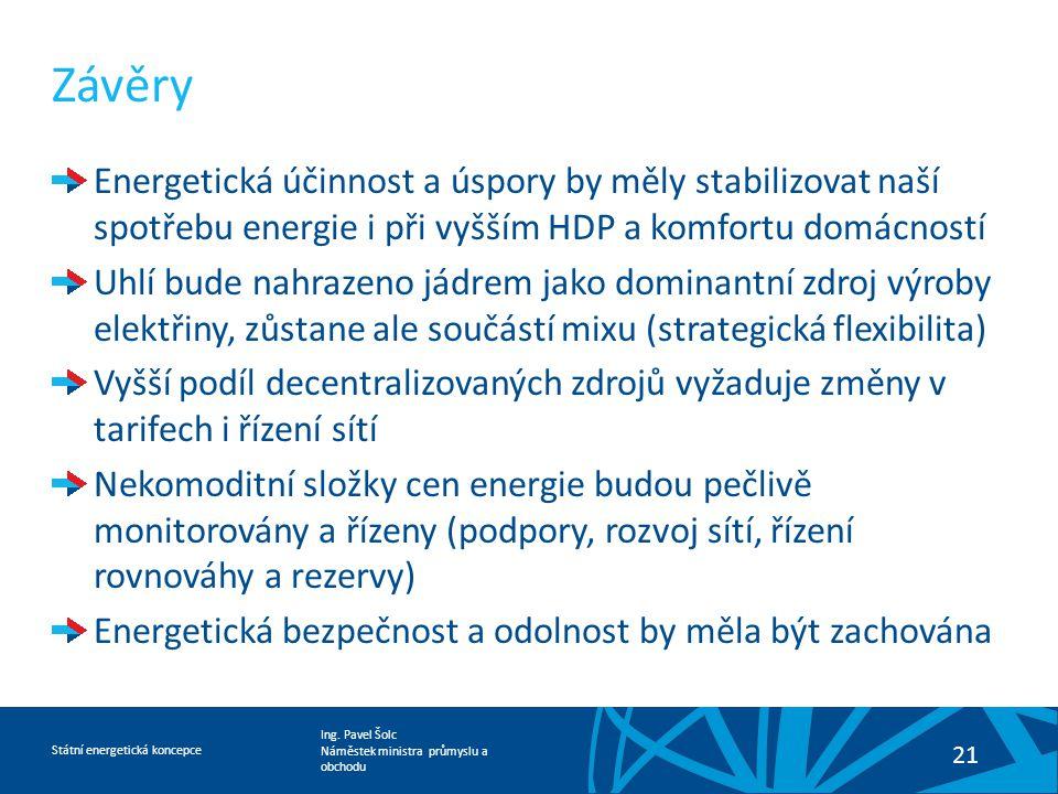 Ing. Pavel Šolc Náměstek ministra průmyslu a obchodu Státní energetická koncepce 21 Závěry Energetická účinnost a úspory by měly stabilizovat naší spo