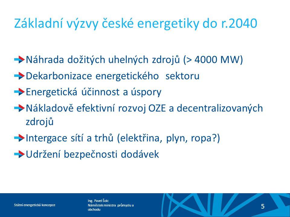 Ing. Pavel Šolc Náměstek ministra průmyslu a obchodu Státní energetická koncepce 5 Základní výzvy české energetiky do r.2040 Náhrada dožitých uhelných