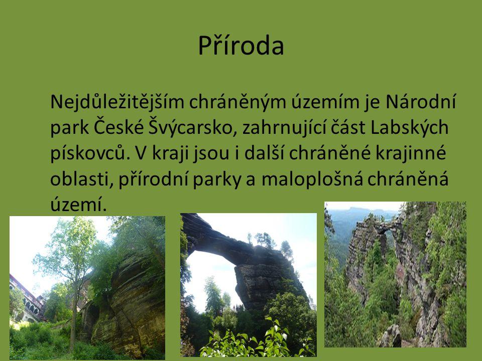 Příroda Nejdůležitějším chráněným územím je Národní park České Švýcarsko, zahrnující část Labských pískovců. V kraji jsou i další chráněné krajinné ob