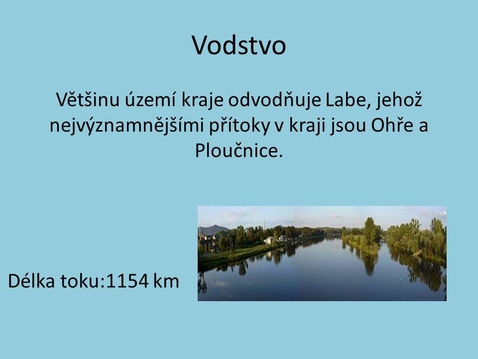 Vodstvo Většinu území kraje odvodňuje Labe, jehož nejvýznamnějšími přítoky v kraji jsou Ohře a Ploučnice. Délka toku:1154 km