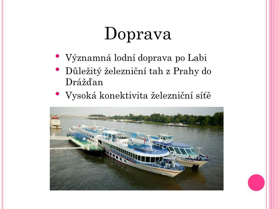 Doprava Významná lodní doprava po Labi Důležitý železniční tah z Prahy do Drážďan Vysoká konektivita železniční síťě