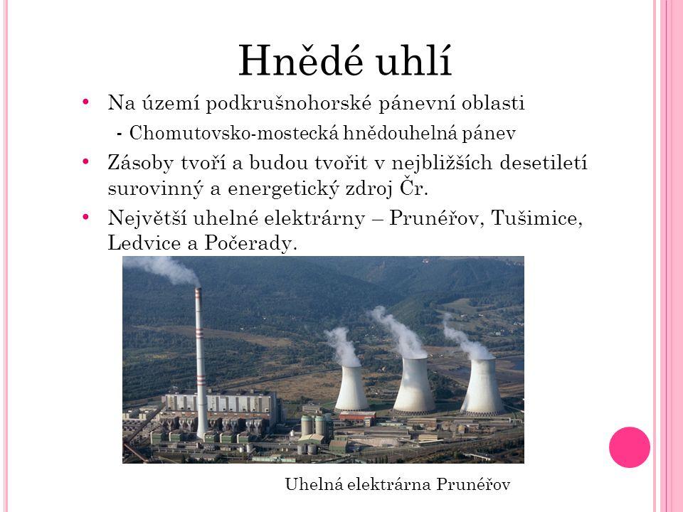 Hnědé uhlí Na území podkrušnohorské pánevní oblasti - Chomutovsko-mostecká hnědouhelná pánev Zásoby tvoří a budou tvořit v nejbližších desetiletí suro