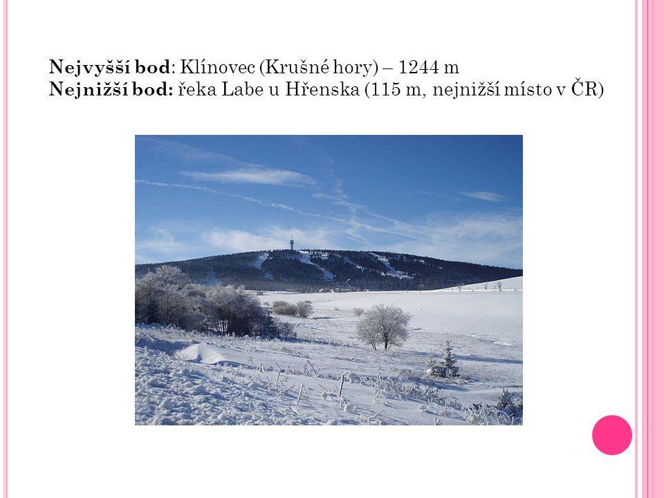 Nejvyšší bod : Klínovec (Krušné hory) – 1244 m Nejnižší bod: řeka Labe u Hřenska (115 m, nejnižší místo v ČR)