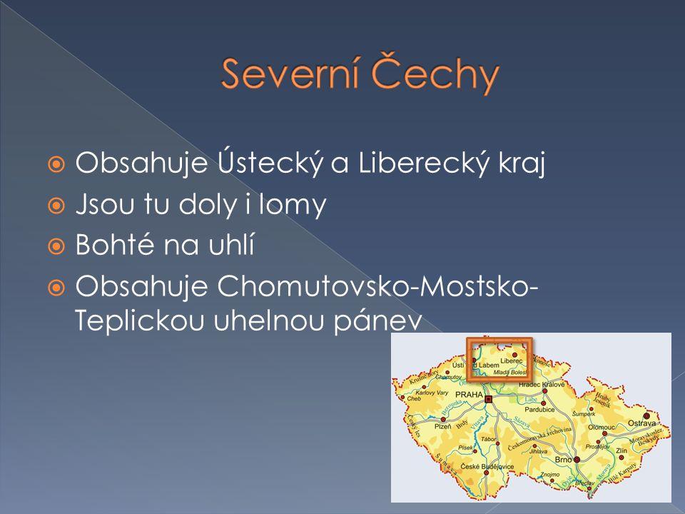  Obsahuje Ústecký a Liberecký kraj  Jsou tu doly i lomy  Bohté na uhlí  Obsahuje Chomutovsko-Mostsko- Teplickou uhelnou pánev