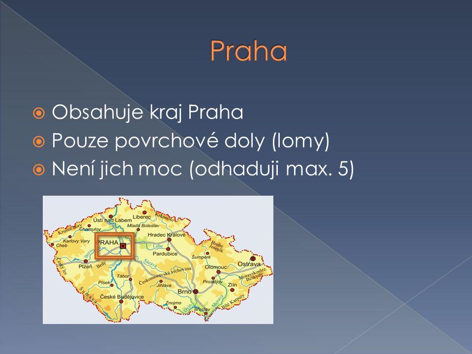  Obsahuje kraj Praha  Pouze povrchové doly (lomy)  Není jich moc (odhaduji max. 5)