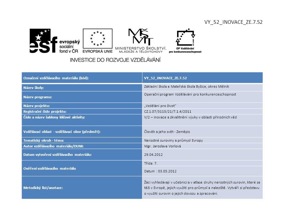 Označení vzdělávacího materiálu (kód):VY_52_INOVACE_ZE.7.52 Název školy: Základní škola a Mateřská škola Byšice, okres Mělník Název programu: Operační