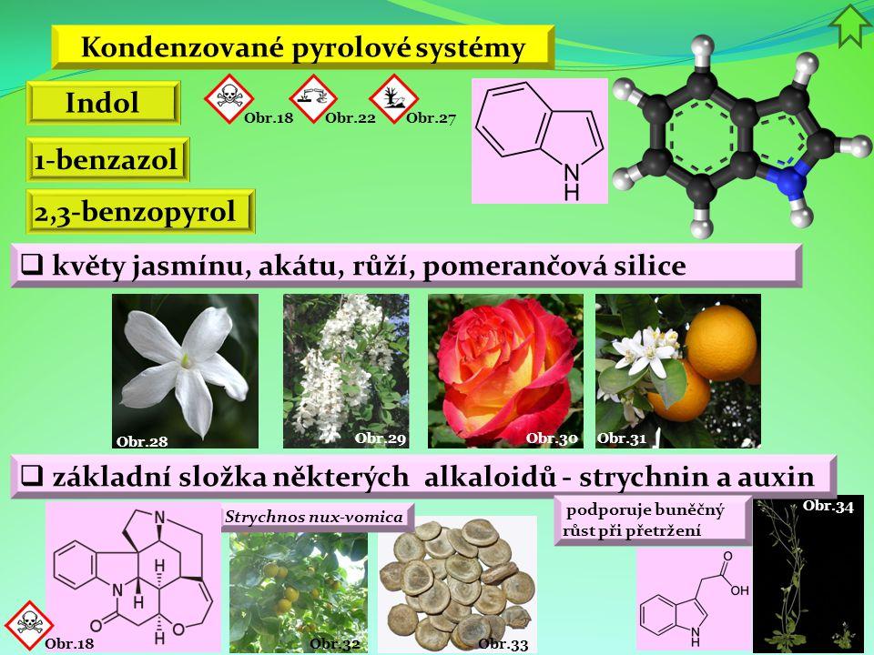 Obr.34 Obr.33 Obr.32 Strychnos nux-vomica Kondenzované pyrolové systémy Indol 1-benzazol 2,3-benzopyrol  květy jasmínu, akátu, růží, pomerančová sili