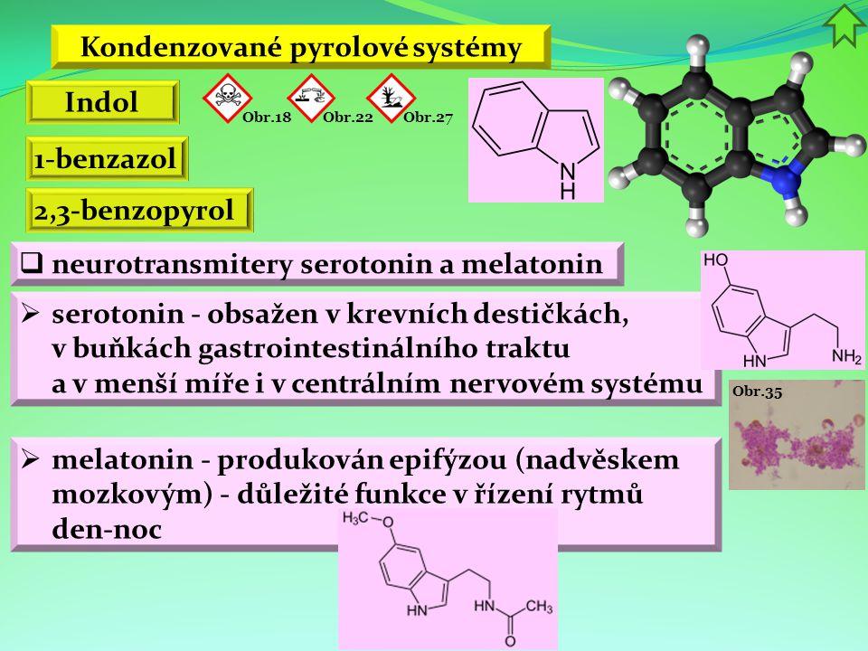 Obr.35 Kondenzované pyrolové systémy Indol 1-benzazol 2,3-benzopyrol  neurotransmitery serotonin a melatonin Obr.22 Obr.18 Obr.27  serotonin - obsaž