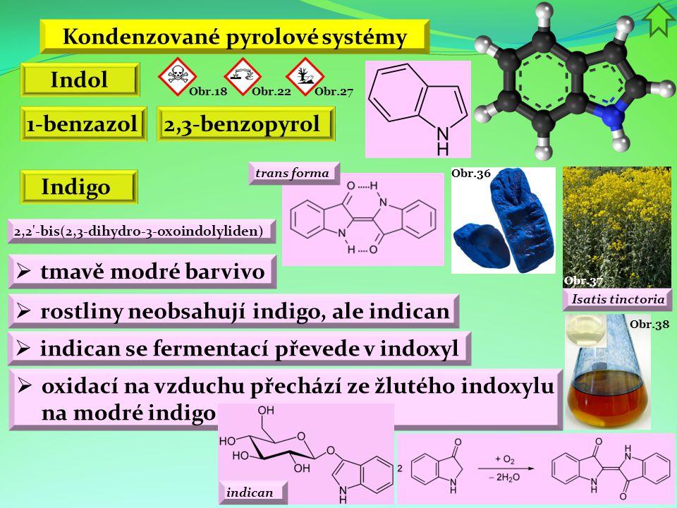 Obr.38 Kondenzované pyrolové systémy Indol 1-benzazol2,3-benzopyrol Indigo Obr.22 Obr.18 Obr.27 Obr.37 Isatis tinctoria  tmavě modré barvivo  rostli
