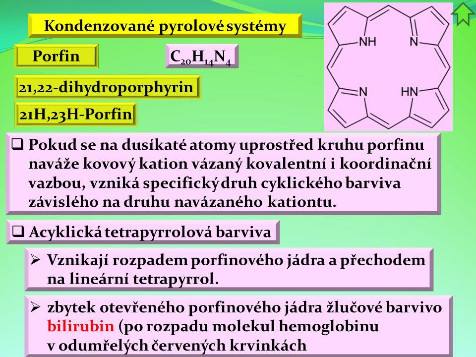 Kondenzované pyrolové systémy Porfin 21,22-dihydroporphyrin  Pokud se na dusíkaté atomy uprostřed kruhu porfinu naváže kovový kation vázaný kovalentn