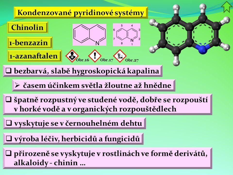 Kondenzované pyridinové systémy Chinolin 1-benzazin 1-azanaftalen Obr.16Obr.17 Obr.27  bezbarvá, slabě hygroskopická kapalina  časem účinkem světla