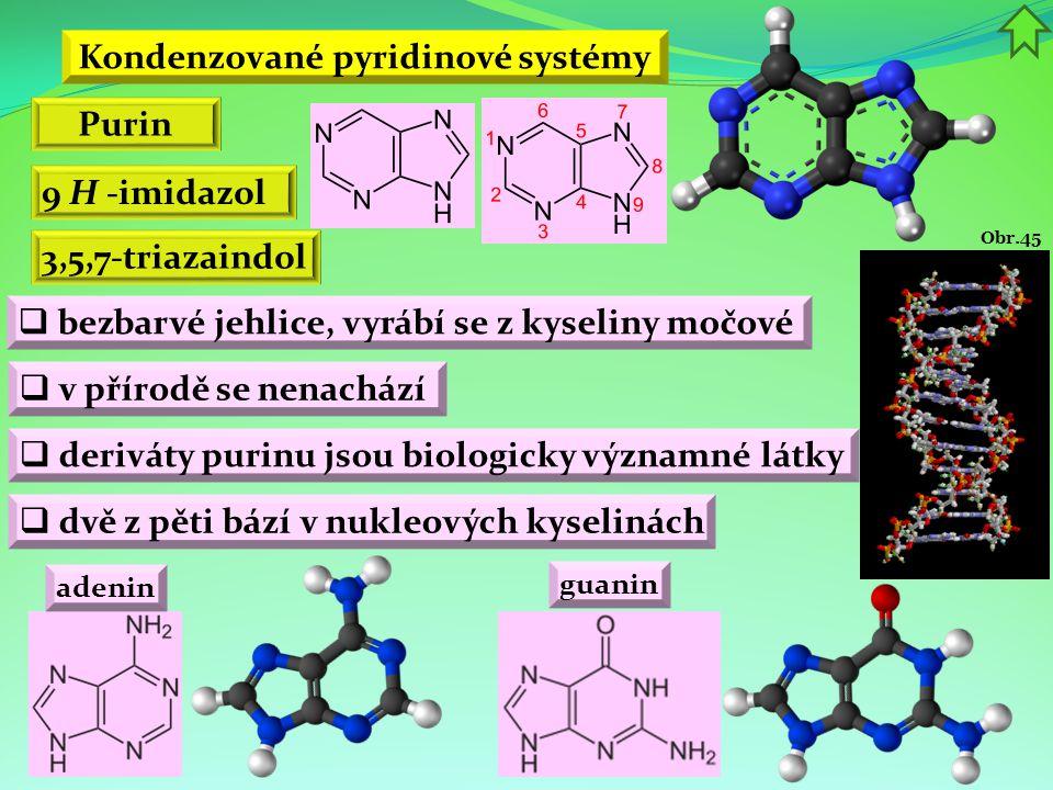 Kondenzované pyridinové systémy Purin 9 H -imidazol  bezbarvé jehlice, vyrábí se z kyseliny močové  v přírodě se nenachází  deriváty purinu jsou bi