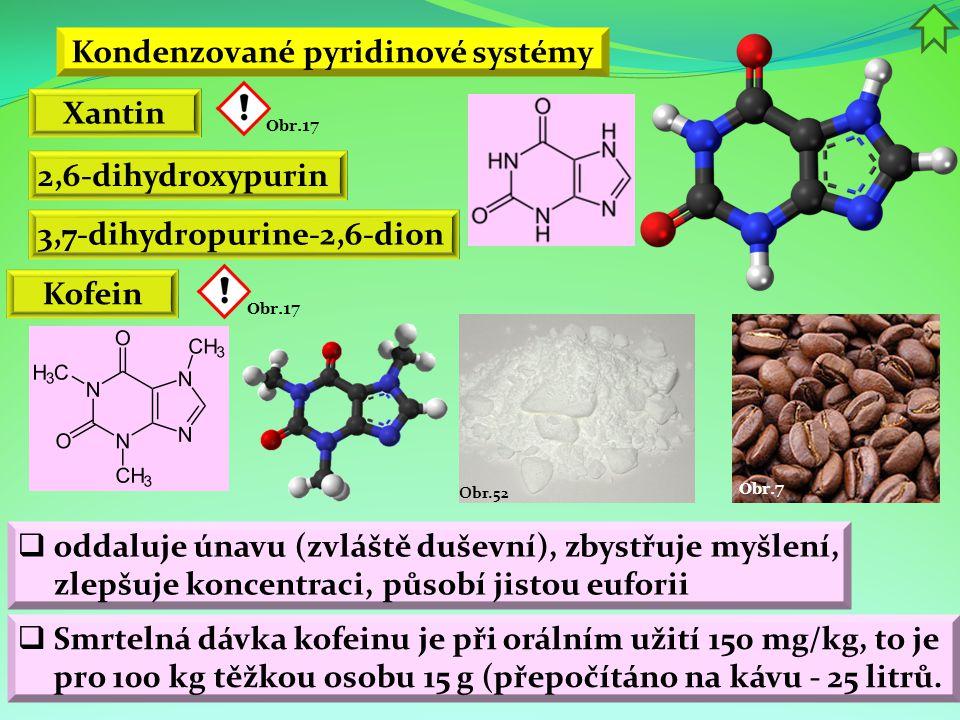 Kondenzované pyridinové systémy Xantin 2,6-dihydroxypurin Kofein  oddaluje únavu (zvláště duševní), zbystřuje myšlení, zlepšuje koncentraci, působí j