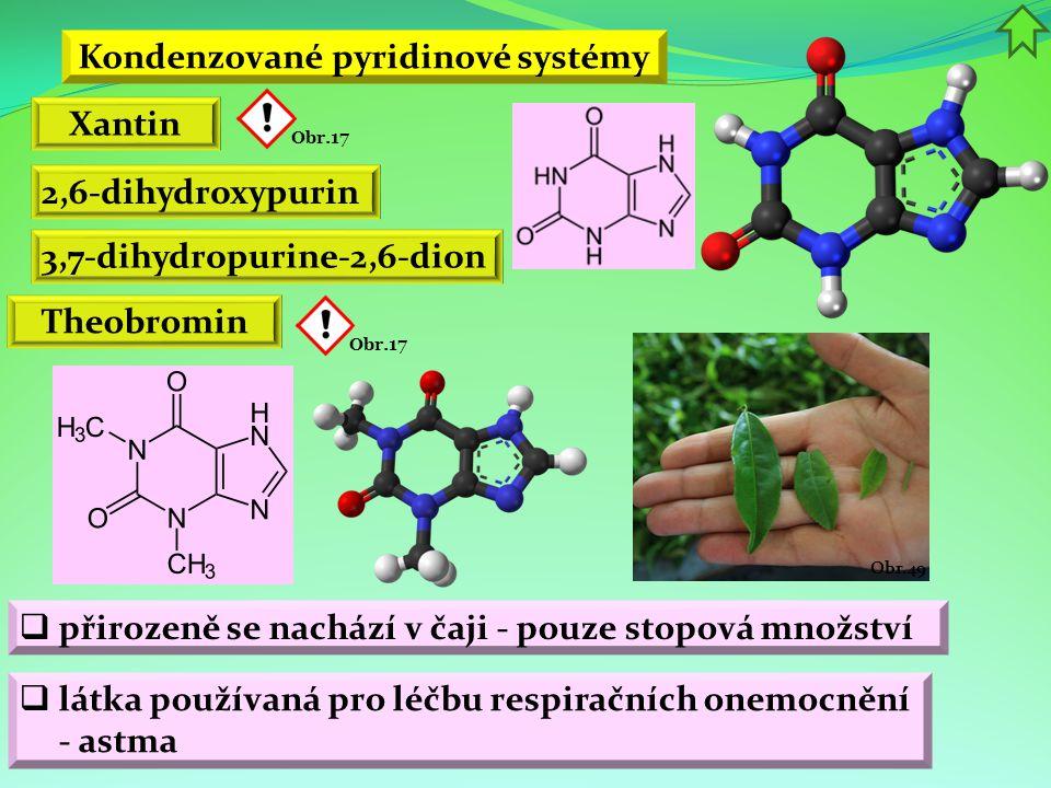 Kondenzované pyridinové systémy Xantin 2,6-dihydroxypurin Theobromin  přirozeně se nachází v čaji - pouze stopová množství 3,7-dihydropurine-2,6-dion