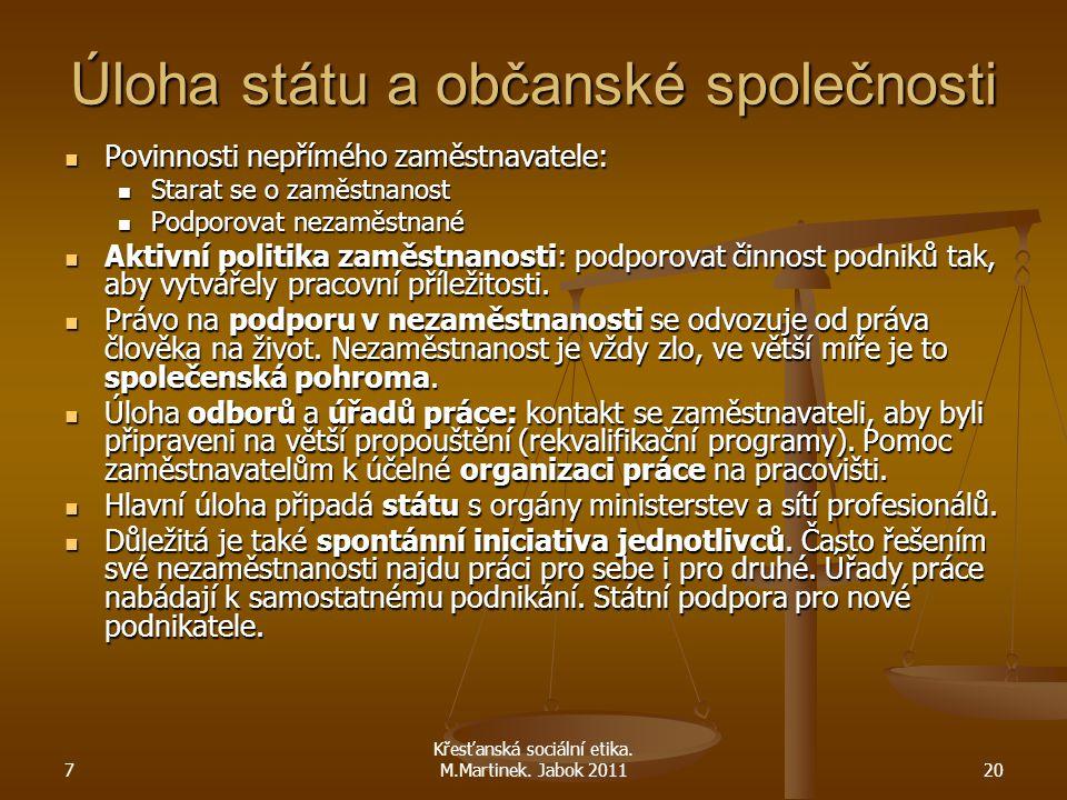 7 Křesťanská sociální etika. M.Martinek. Jabok 201120 Úloha státu a občanské společnosti Povinnosti nepřímého zaměstnavatele: Povinnosti nepřímého zam