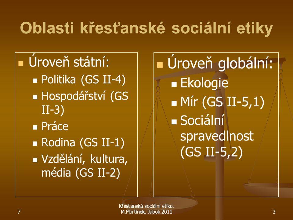 7 Křesťanská sociální etika. M.Martinek. Jabok 20113 Oblasti křesťanské sociální etiky Úroveň státní: Politika (GS II-4) Hospodářství (GS II-3) Práce
