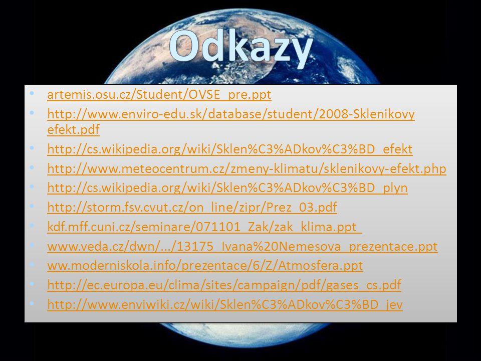 artemis.osu.cz/Student/OVSE_pre.ppt http://www.enviro-edu.sk/database/student/2008-Sklenikovy efekt.pdf http://www.enviro-edu.sk/database/student/2008