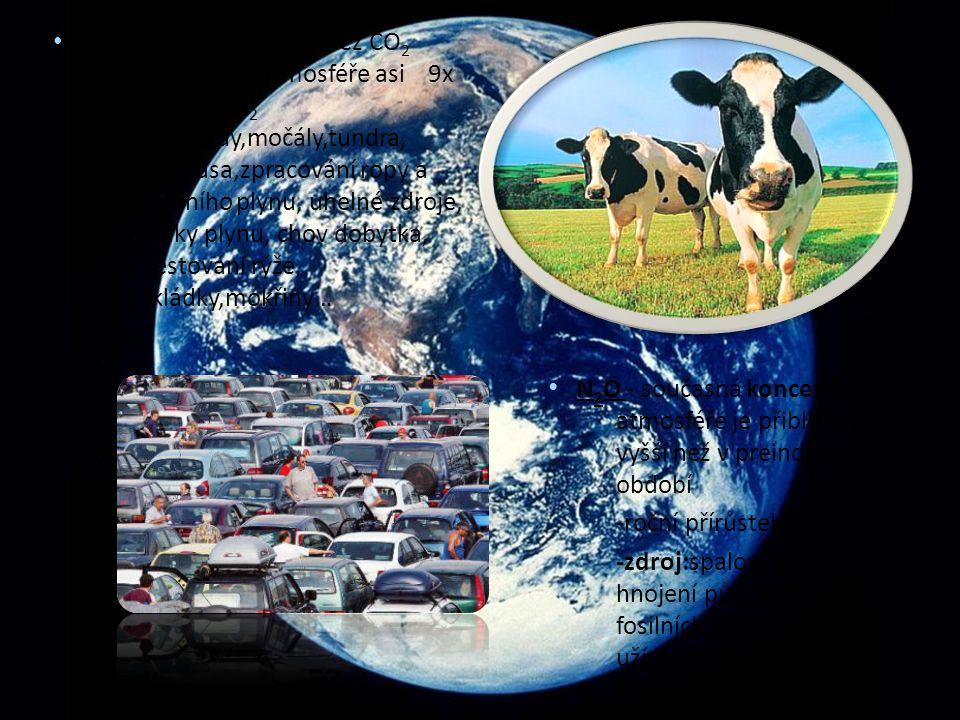 N 2 O - současná koncentrace v atmosféře je přibližně o 12 % vyšší než v preindustriálním období -roční přírůstek činí asi 0,25 % -zdroj:spalování bio