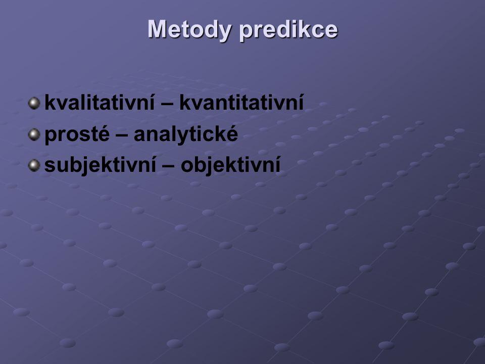 Metody predikce kvalitativní – kvantitativní prosté – analytické subjektivní – objektivní