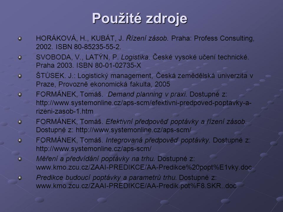 Použité zdroje HORÁKOVÁ, H., KUBÁT, J. Řízení zásob. Praha: Profess Consulting, 2002. ISBN 80-85235-55-2. SVOBODA, V., LATÝN, P. Logistika. České vyso