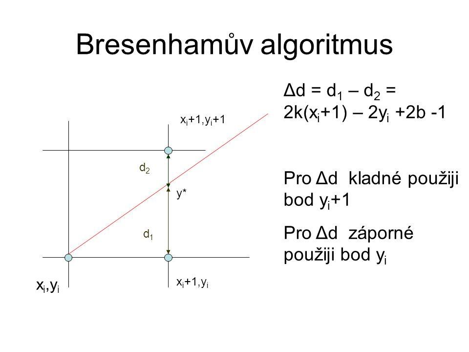 Bresenhamův algoritmus Δd = d 1 – d 2 = 2*Δy/Δx*(x i +1) – 2y i +2b -1 Jediná neceločíselná hodnota ve vyorci je směrnice k = Δy/Δx.
