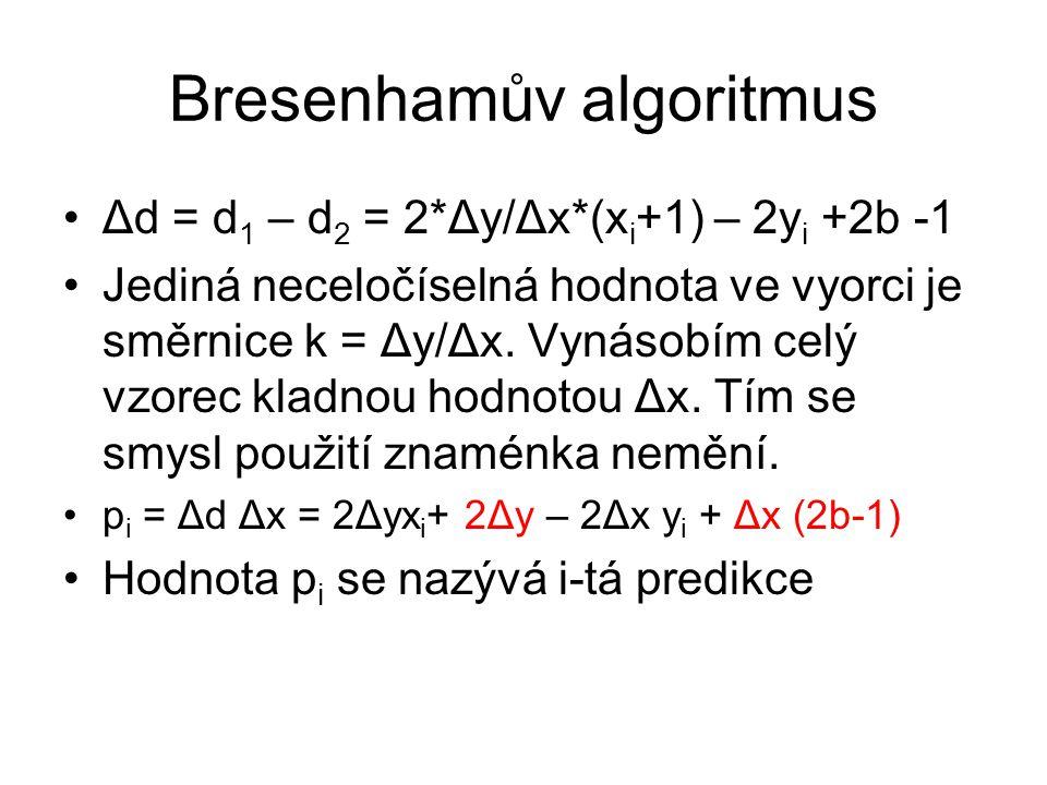 Výpočet následující predikce p i+1 = 2Δy(x i +1) + 2Δy – 2Δx y i+1 + Δx (2b-1) p i+1 = p i + 2Δy – 2Δx( y i+1 - y i ) Pro p i záporné položím y i+1 = y i a p i+1 = p i + 2Δy Pro p i nezáporné položím y i+1 = yi + 1 p i+1 = p i + 2Δy – 2Δx( y i+1 - y i ) Počáteční hodnota p 1 = 2 Δy – Δx