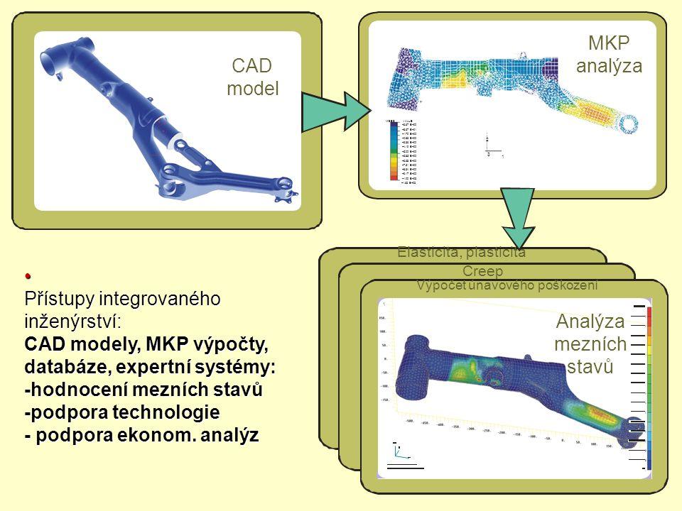 Přístupy integrovaného inženýrství: CAD modely, MKP výpočty, databáze, expertní systémy: -hodnocení mezních stavů -podpora technologie - podpora ekono