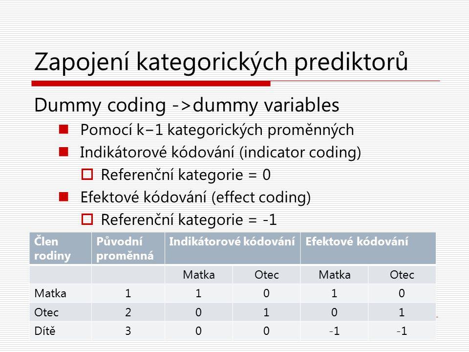 Zapojení kategorických prediktorů Dummy coding ->dummy variables Pomocí k−1 kategorických proměnných Indikátorové kódování (indicator coding)  Refere