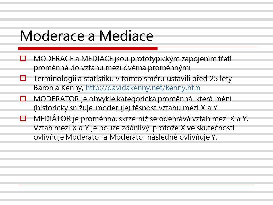 Moderace a Mediace  MODERACE a MEDIACE jsou prototypickým zapojením třetí proměnné do vztahu mezi dvěma proměnnými  Terminologii a statistiku v tomt