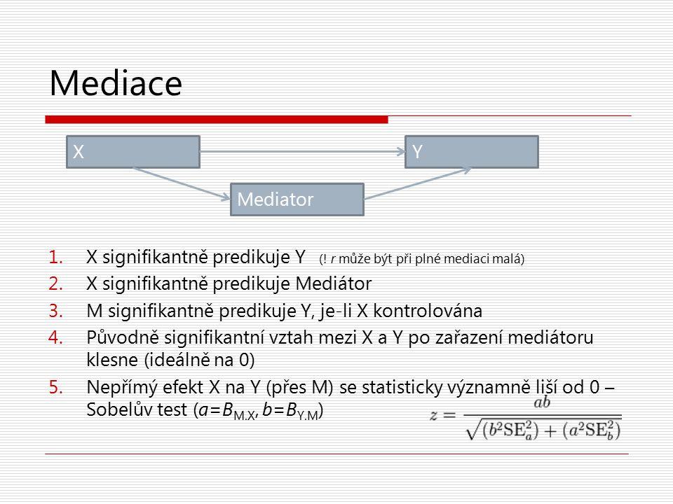 Mediace 1.X signifikantně predikuje Y (! r může být při plné mediaci malá) 2.X signifikantně predikuje Mediátor 3.M signifikantně predikuje Y, je-li X