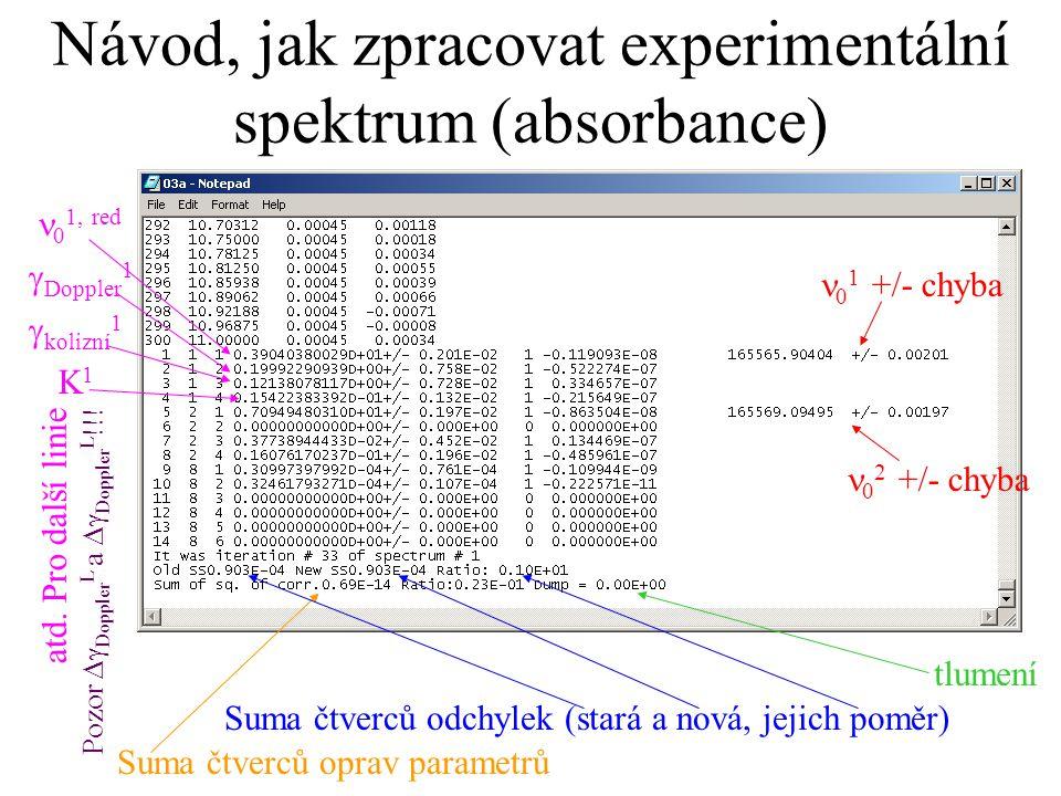 Návod, jak zpracovat experimentální spektrum (absorbance) 0 1 +/- chyba 0 2 +/- chyba 0 1, red  Doppler 1  kolizní 1 K1K1 atd. Pro další linie Pozor