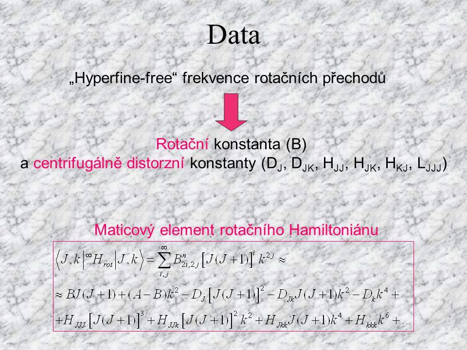 """Data Maticový element rotačního Hamiltoniánu """"Hyperfine-free frekvence rotačních přechodů Rotační konstanta (B) a centrifugálně distorzní konstanty (D J, D JK, H JJ, H JK, H KJ, L JJJ )"""