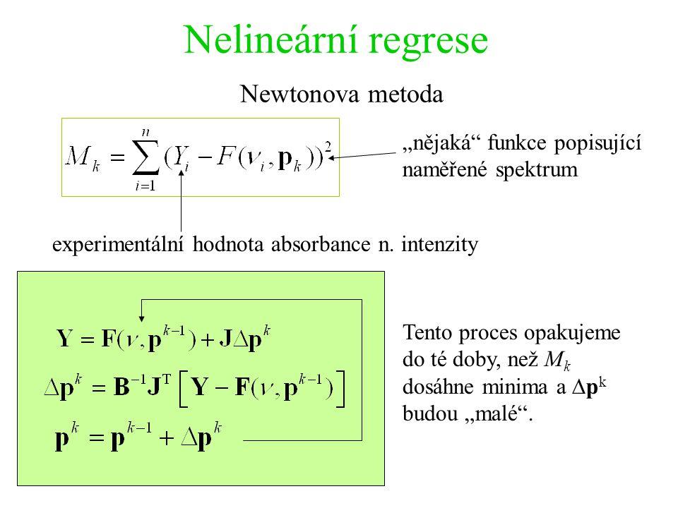 """Nelineární regrese Newtonova metoda experimentální hodnota absorbance n. intenzity """"nějaká"""" funkce popisující naměřené spektrum Tento proces opakujeme"""