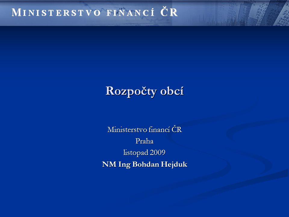 Rozpočty obcí Ministerstvo financí ČR Praha listopad 2009 NM Ing Bohdan Hejduk