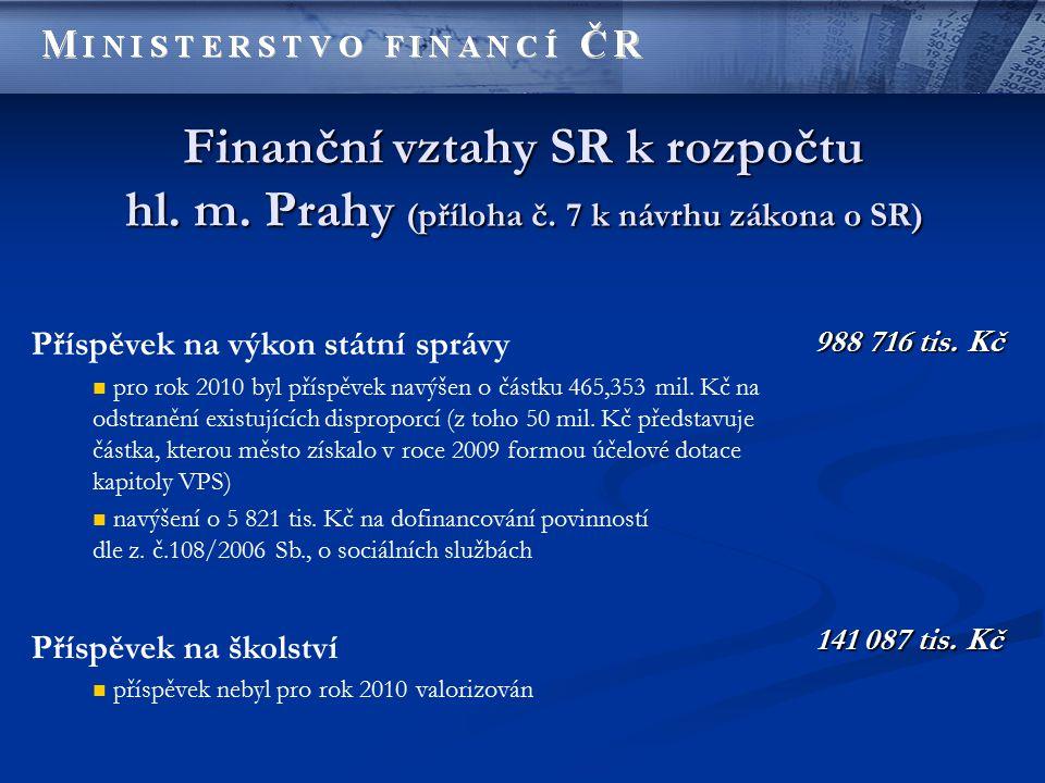 Finanční vztahy SR k rozpočtu hl. m. Prahy (příloha č. 7 k návrhu zákona o SR) Příspěvek na výkon státní správy pro rok 2010 byl příspěvek navýšen o č