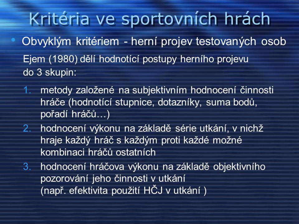 Výběr kritérií Škála pro hodnocení motorických dovedností s míčem 1.