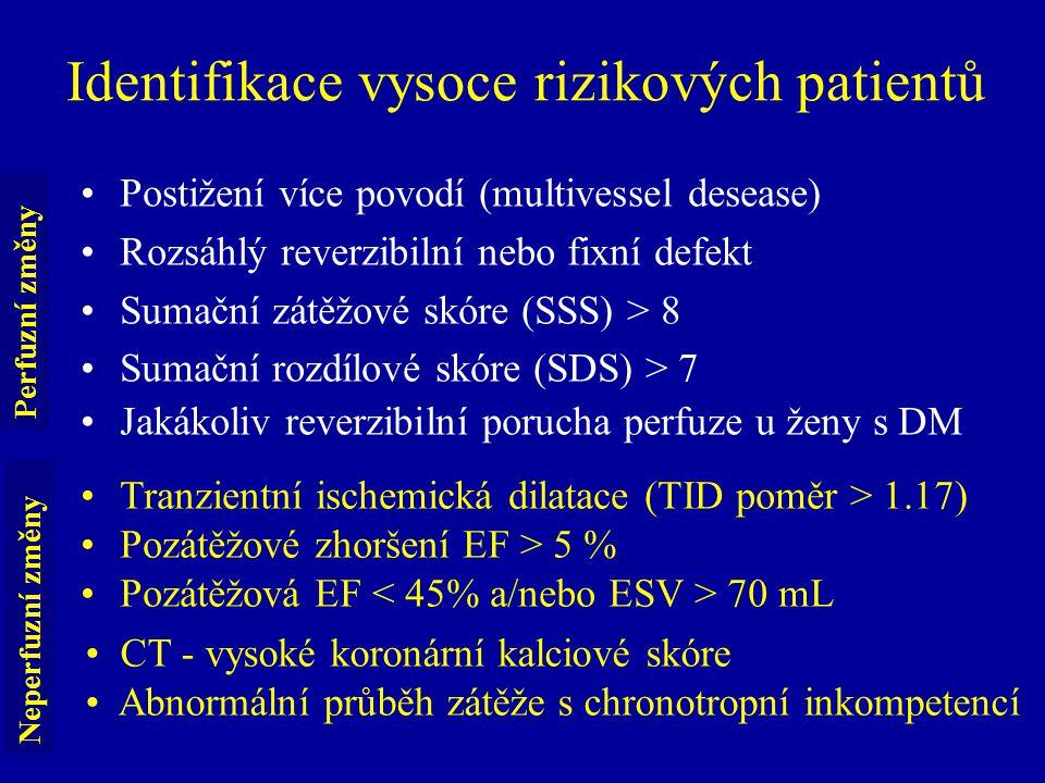 Identifikace vysoce rizikových patientů Postižení více povodí (multivessel desease) Rozsáhlý reverzibilní nebo fixní defekt Sumační zátěžové skóre (SS