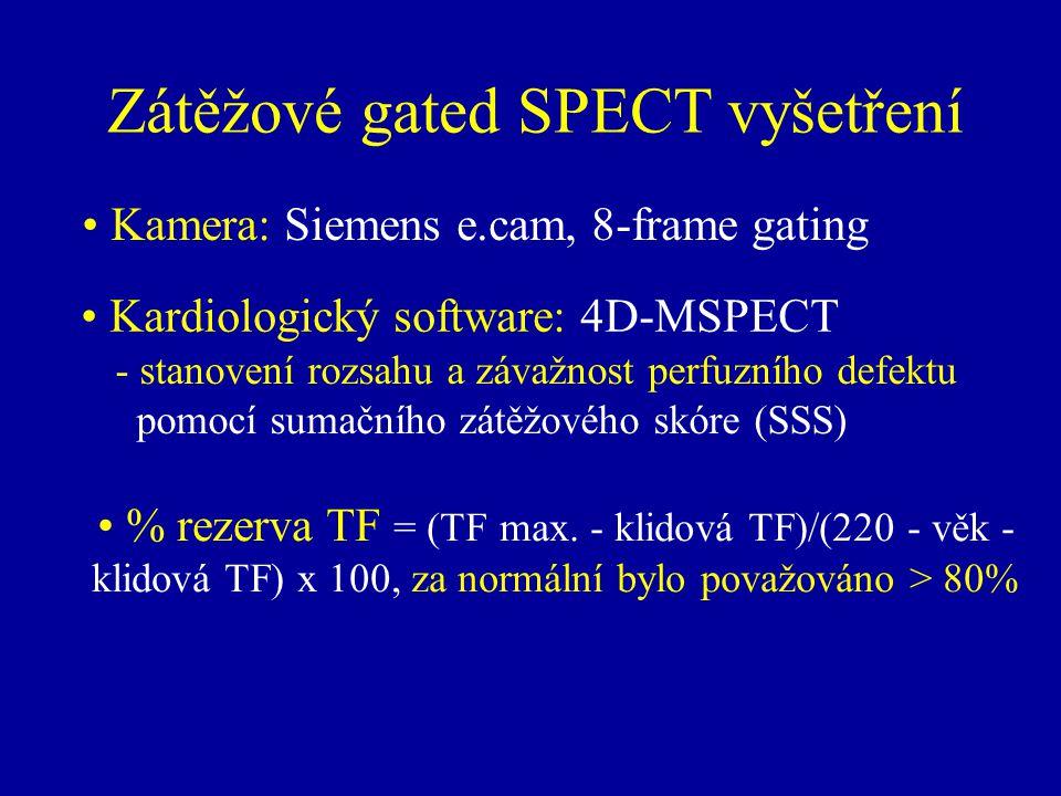 - stanovení rozsahu a závažnost perfuzního defektu pomocí sumačního zátěžového skóre (SSS) Zátěžové gated SPECT vyšetření Kardiologický software: 4D-M