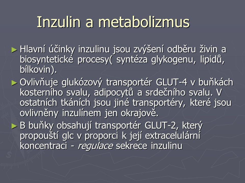 Inzulin a metabolizmus ► Hlavní účinky inzulinu jsou zvýšení odběru živin a biosyntetické procesy( syntéza glykogenu, lipidů, bílkovin). ► Ovlivňuje g