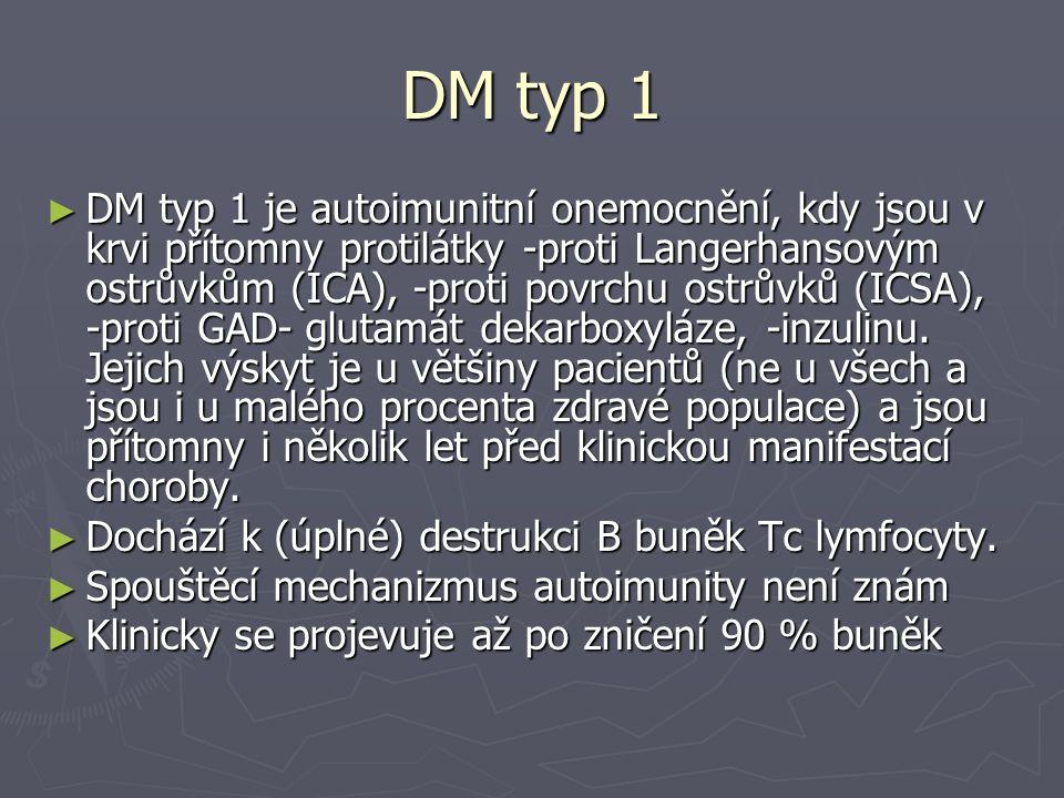 DM typ 1 ► DM typ 1 je autoimunitní onemocnění, kdy jsou v krvi přítomny protilátky -proti Langerhansovým ostrůvkům (ICA), -proti povrchu ostrůvků (IC