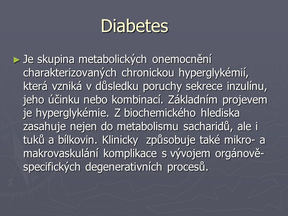 Diabetes ► Je skupina metabolických onemocnění charakterizovaných chronickou hyperglykémií, která vzniká v důsledku poruchy sekrece inzulínu, jeho úči