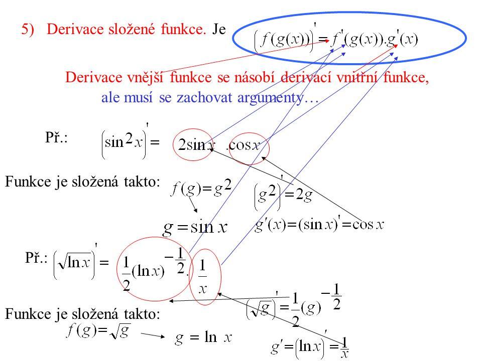5) Derivace složené funkce.