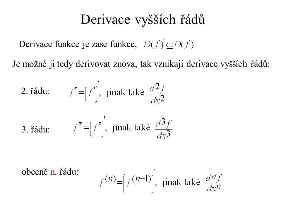 Derivace vyšších řádů Derivace funkce je zase funkce, Je možné ji tedy derivovat znova, tak vznikají derivace vyšších řádů: 2.