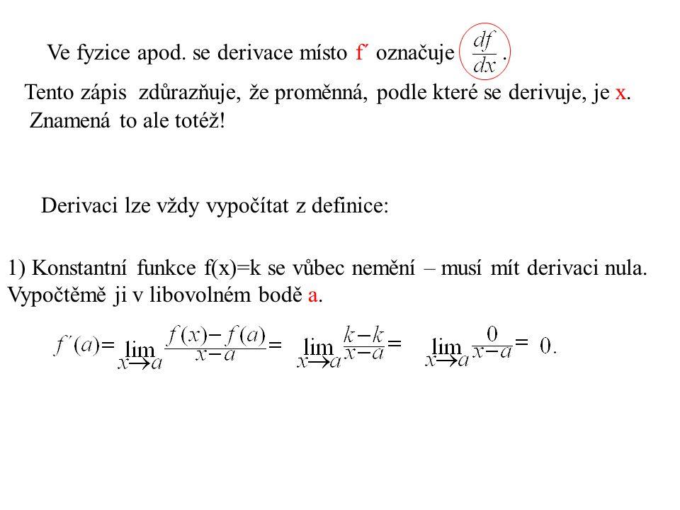 Derivaci lze vždy vypočítat z definice: 1) Konstantní funkce f(x)=k se vůbec nemění – musí mít derivaci nula.