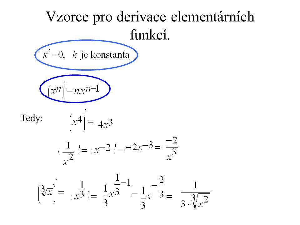 Vzorce pro derivace elementárních funkcí. Tedy: