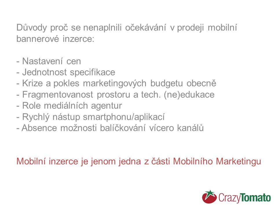 Důvody proč se nenaplnili očekávání v prodeji mobilní bannerové inzerce: - Nastavení cen - Jednotnost specifikace - Krize a pokles marketingových budgetu obecně - Fragmentovanost prostoru a tech.