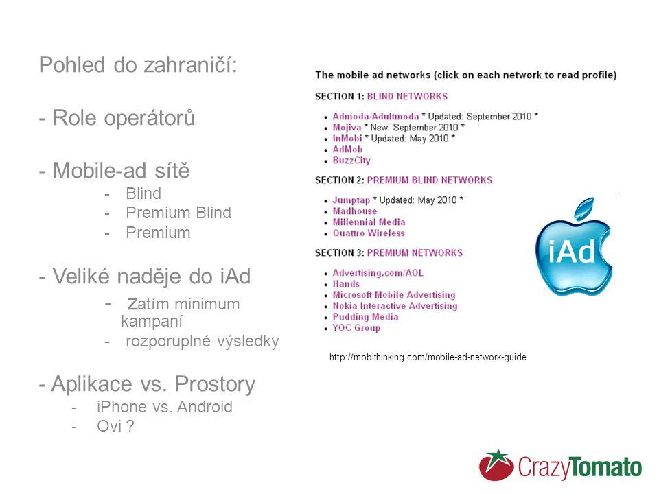 Pohled do zahraničí: - Role operátorů - Mobile-ad sítě - Blind - Premium Blind - Premium - Veliké naděje do iAd - z atím minimum kampaní - rozporuplné