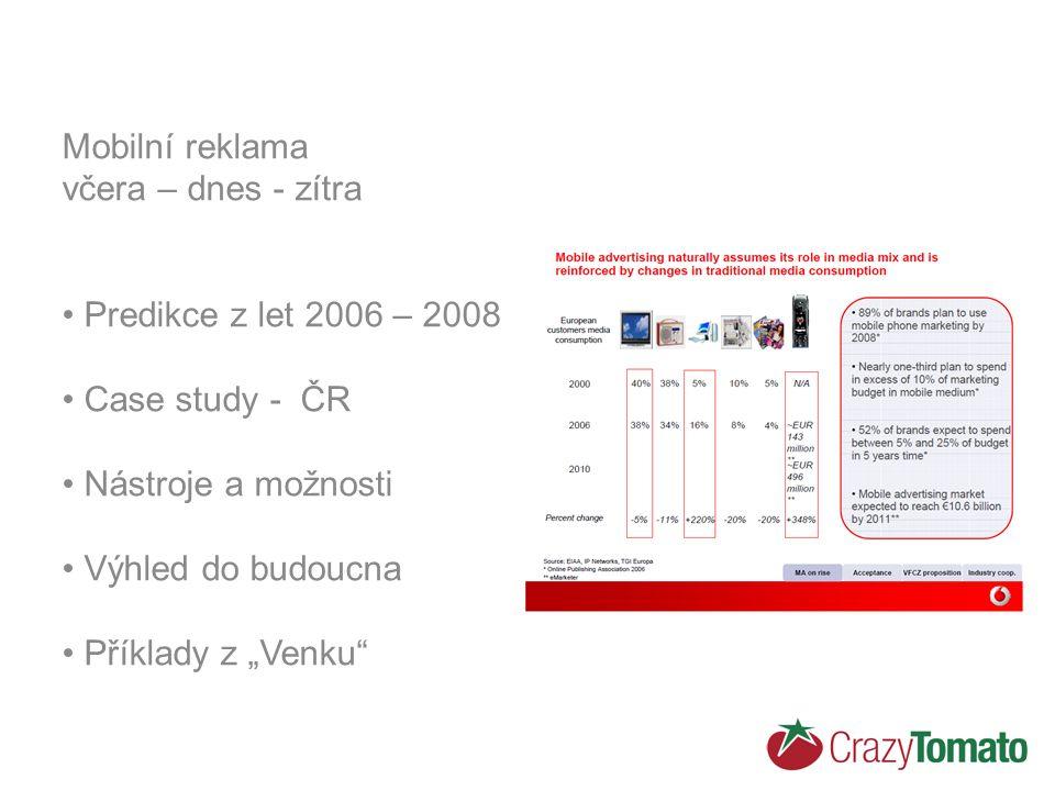 """Mobilní reklama včera – dnes - zítra Predikce z let 2006 – 2008 Case study - ČR Nástroje a možnosti Výhled do budoucna Příklady z """"Venku"""